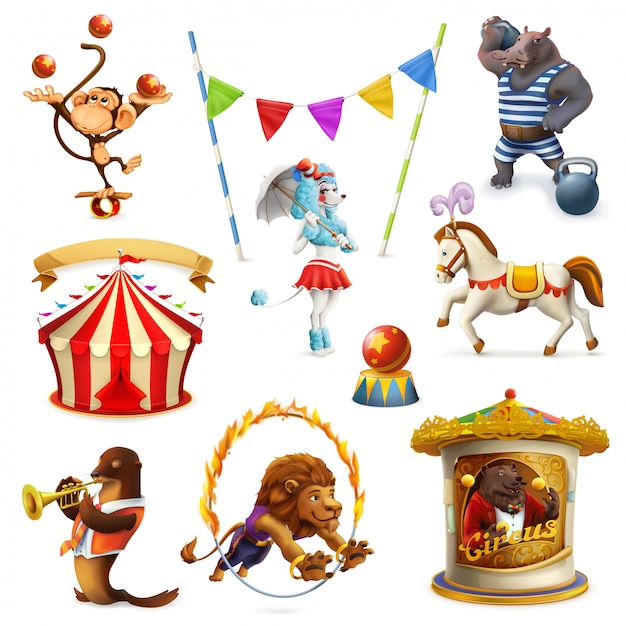 Circus, grappige dieren, set ofs, mesh Premium Vector