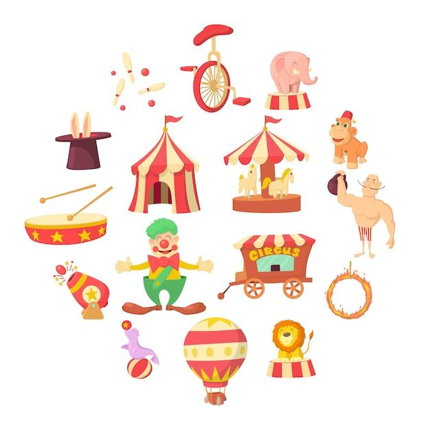 Circus iconen set, cartoon stijl Premium Vector