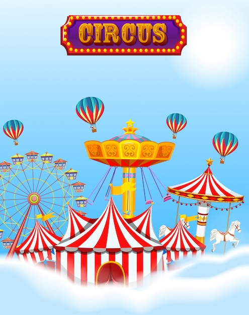 Circus in de wolken en lucht met tent en ritten Gratis Vector