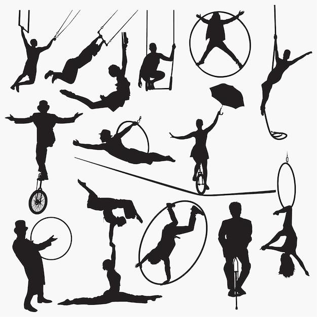 Circus kunstenaar silhouet Premium Vector