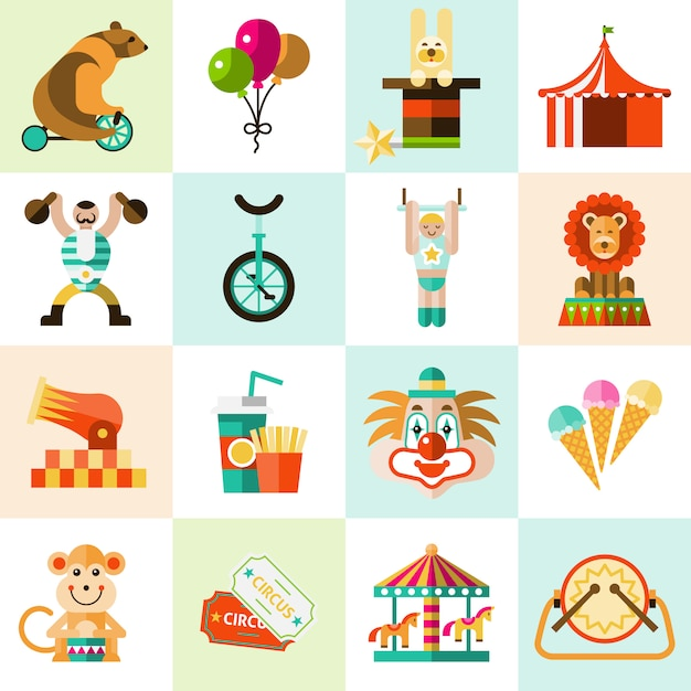 Circus pictogrammen instellen Gratis Vector