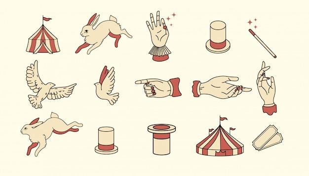 Circus pictogrammen vintage platte ontwerp illustratie elementen voor grafisch ontwerp. logo-items. magische artiest, illusionist, goochelaar, kunstenaar, showman-branding. een haas uit een magische hoed trekken, duiven, vogels Premium Vector