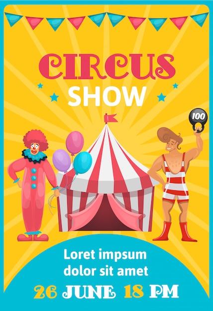 Circus reclameposter kleurrijk met de bewerkbare tekst van cartoonartiesten en de gebeurtenisdatum Gratis Vector