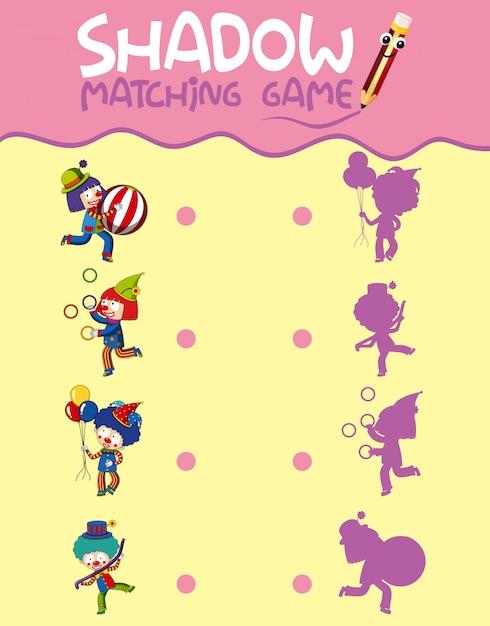 Circus schaduw matching game sjabloon Gratis Vector