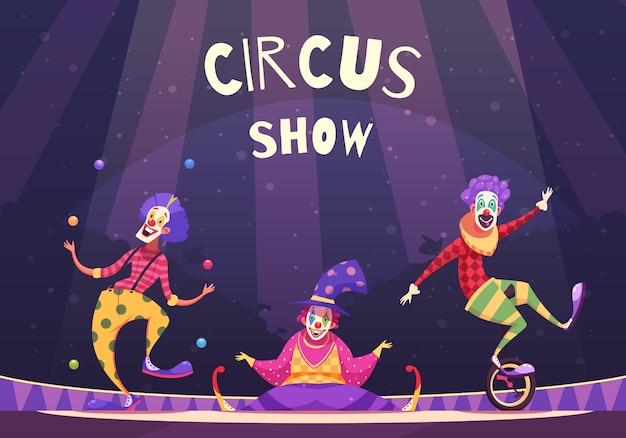 Circus show clowns illustratie Gratis Vector