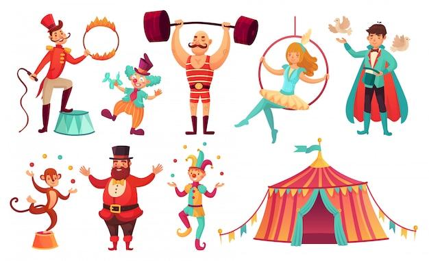 Circus tekens. jongleren met dieren, jongleur kunstenaar clown en sterke man performer. cartoon afbeelding instellen Premium Vector