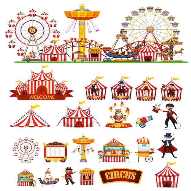 Circus thema objecten en kinderen geïsoleerd Premium Vector