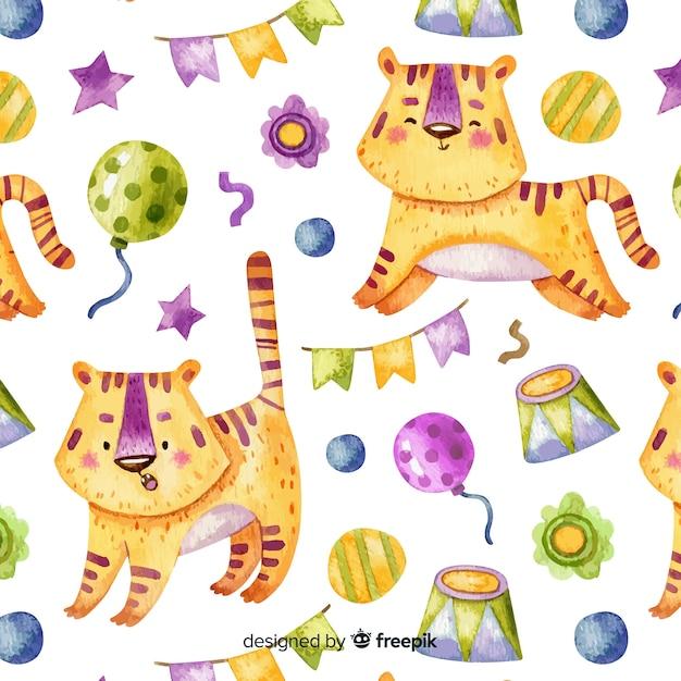 Circus tijger patroon Gratis Vector