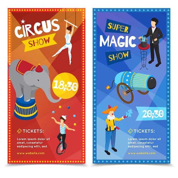 Circus verticale isometrische banners Gratis Vector