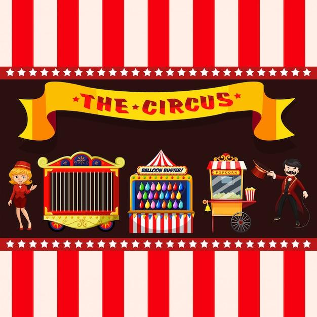 Circusconcept met kraampjes Gratis Vector