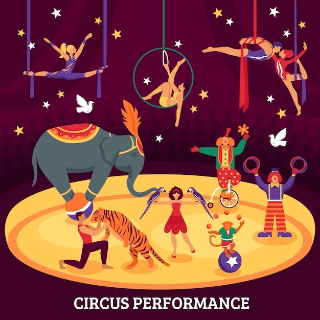 Circusprestaties vlakke compositie Gratis Vector