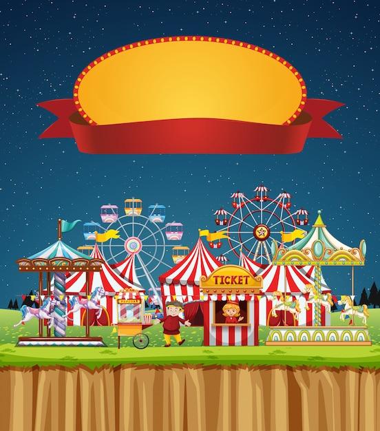 Circusscène met tekensjabloon in de hemel Gratis Vector