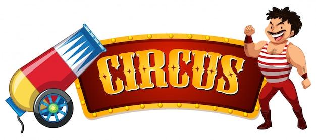 Circusteken met machoman en grote bom Gratis Vector