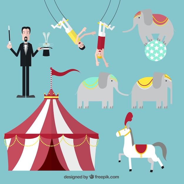 Circusvoorstelling iconen Gratis Vector