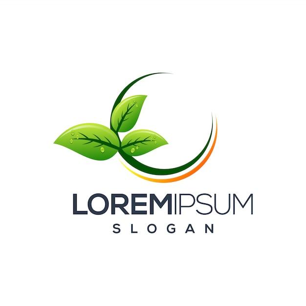 Cirkel blad logo ontwerp Premium Vector