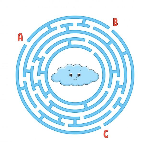 Cirkel doolhof. spel voor kinderen. puzzel voor kinderen. rond labyrint raadsel. Premium Vector