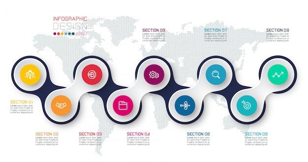 Cirkel gekoppeld aan zakelijke elementen infographic sjabloon op wereldkaart. Premium Vector