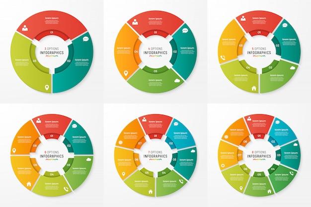Cirkel grafiek infographic sjablonen voor presentaties Premium Vector