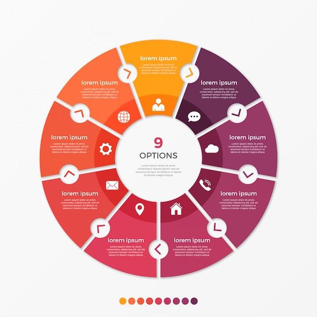Cirkel grafiek infographic sjabloon met opties. Premium Vector