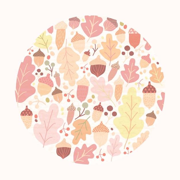 Cirkel herfst compositie met gevallen eiken boom bladeren, eikels en bessen geïsoleerd. Premium Vector