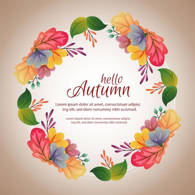Cirkel herfst frame met unieke gekleurde bladeren Premium Vector