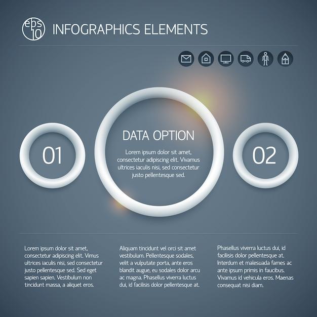 Cirkel infographic bedrijfsconcept met ringen tekst twee opties en pictogrammen op donkere achtergrond geïsoleerd Gratis Vector