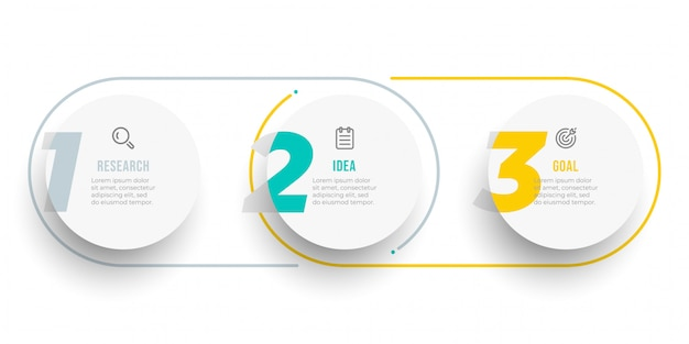 Cirkel infographic labelontwerp met cijfers. tijdlijn met pictogrammen en 3 opties, stappen of processen. Premium Vector