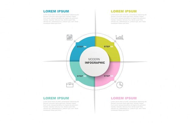 Cirkel infographic sjabloon met pictogrammen en 4 stappen of opties. Premium Vector