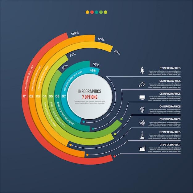 Cirkel informatieve infographic met 7 opties Premium Vector