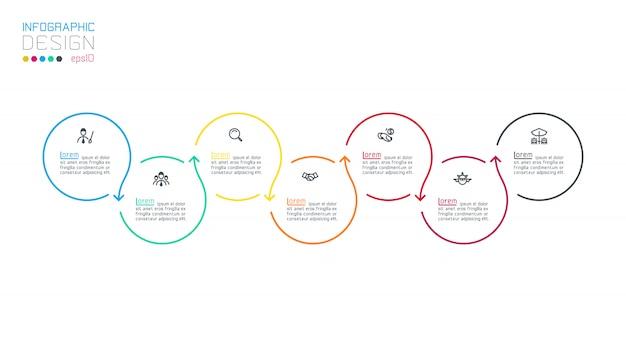 Cirkel label infographic met stap voor stap. Premium Vector