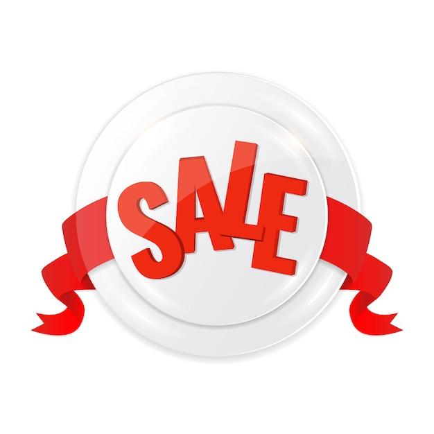Cirkel label verkoop met rood lint. Premium Vector