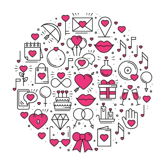 Cirkel met liefdesymbolen in lijnstijl Premium Vector