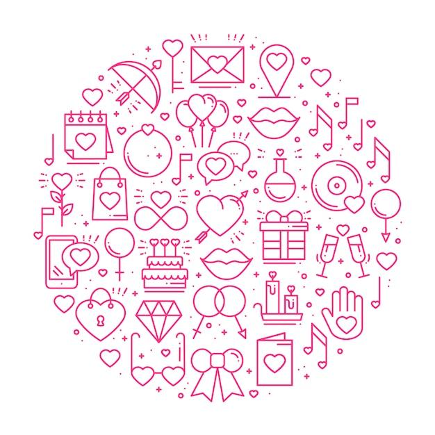 Cirkel met liefdesymbolen. Premium Vector