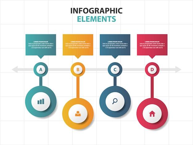 Cirkel tijdlijn bedrijfsinfographicselementen Premium Vector