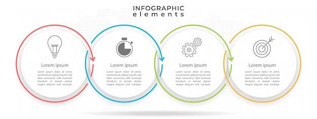Cirkel tijdlijn infographic sjabloon 4 opties. Premium Vector