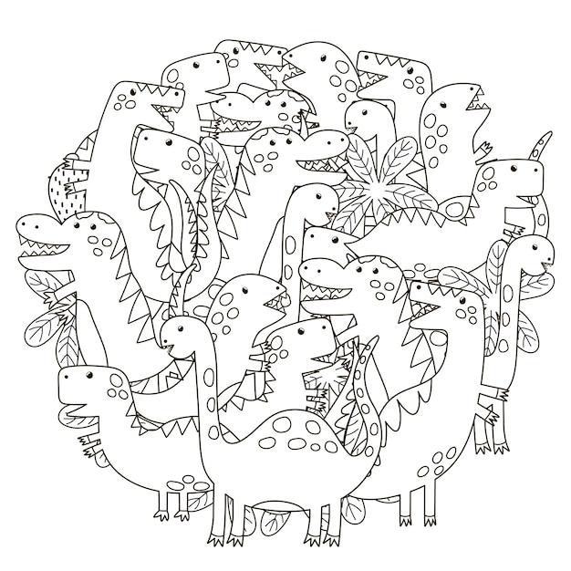 Cirkel vorm patroon met schattige dinosaurussen voor kleurboek Premium Vector
