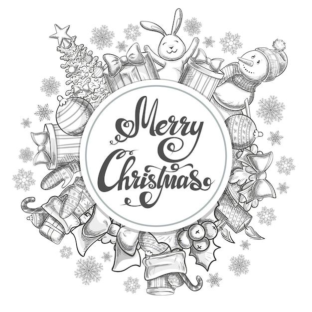 Cirkel vorm sjabloon met kerst iconen. monochrome schets stijl kerst illustratie voor decoratie. Premium Vector