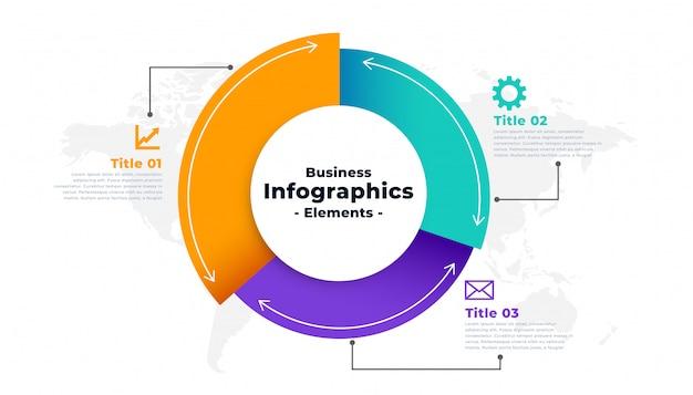Cirkeldiagram infographic voor drie stappen sjabloon Gratis Vector