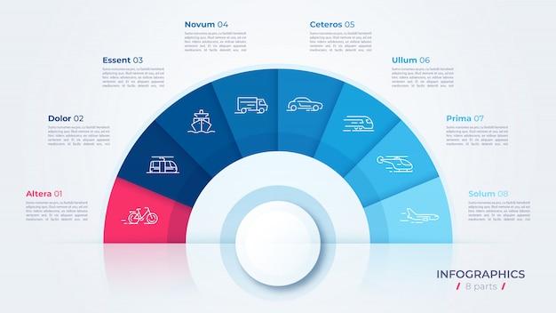 Cirkeldiagram, moderne sjabloon voor het maken van infographics, presentaties, rapporten, visualisaties Premium Vector