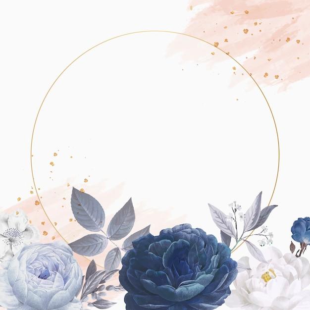 Cirkelkader met bloemenmotieven Gratis Vector