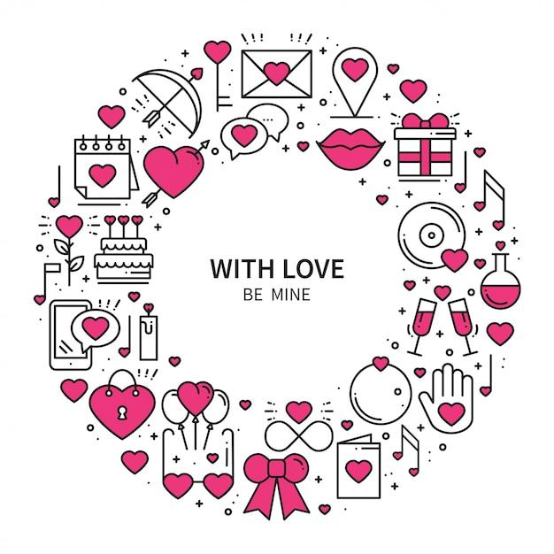 Cirkelkader met liefdesymbolen. Premium Vector