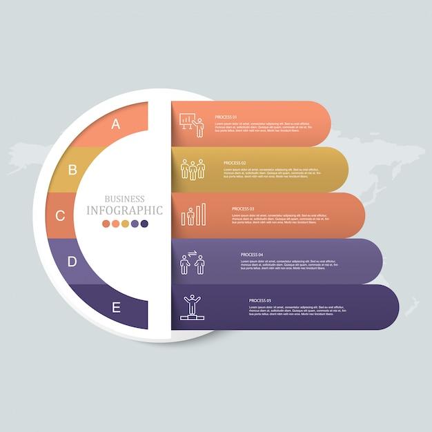 Cirkels infographic en werkman pictogrammen. Premium Vector