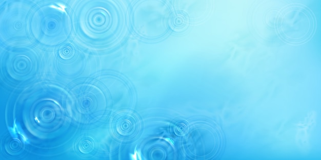 Cirkels op water bovenaanzicht, radiaal patroon op vloeistofoppervlak met divergerende ringen, wervelingen en spatten. rimpelingen gemaakt van gegooid steen op blauwe zee of oceaan achtergrond, realistische 3d illustratie Gratis Vector