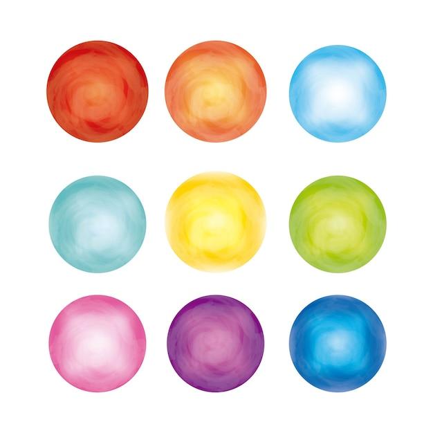 Cirkels pictogram. aquarel ontwerp. vector afbeelding Premium Vector