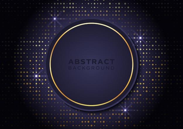 Cirkelvorm achtergrond met gouden glitters en sterrenlicht Premium Vector