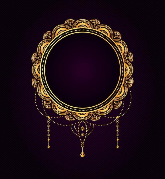 Cirkelvorm bruiloft titel vintage gouden typografische badge. Premium Vector