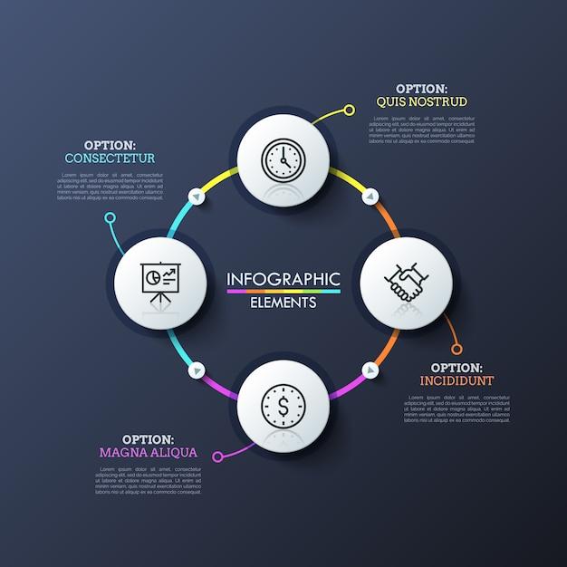 Cirkelvormig diagram met 4 ronde witte elementen verbonden door kleurrijke lijnen en afspeelknoppen. moderne infographic ontwerplay-out. Premium Vector
