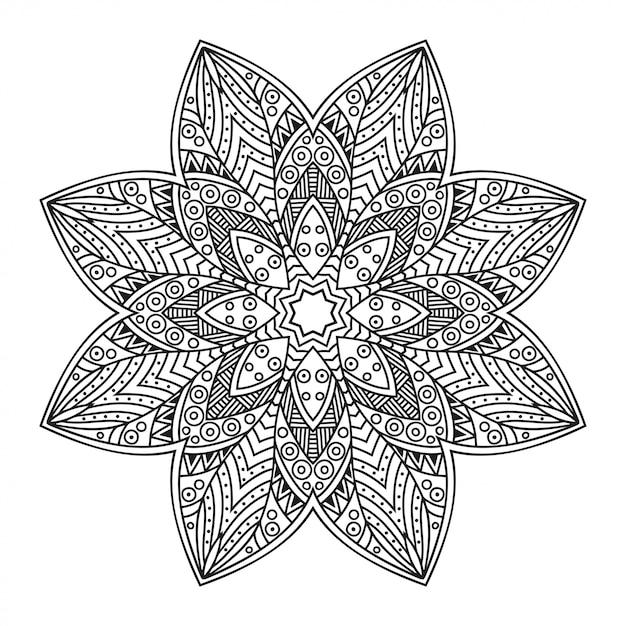 Cirkelvormig patroon in de vorm van mandala met bloem. decoratief ornament in etnische oosterse stijl. een overzicht van doodle hand tekenen illustratie. Premium Vector