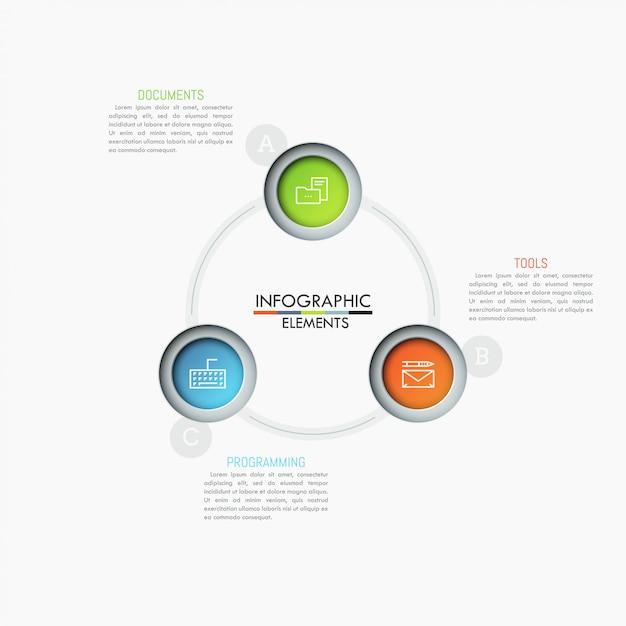 Cirkelvormige grafiek met 3 veelkleurige cirkels, dunne lijnsymbolen en tekstvakken. Premium Vector
