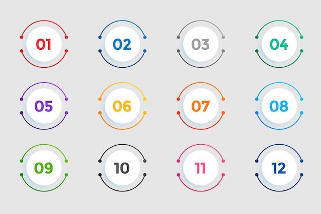 Cirkelvormige opsommingstekens nummers van één tot twaalf Gratis Vector